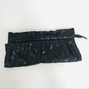 Express Embossed Soft Sided Ruched Black Clutch